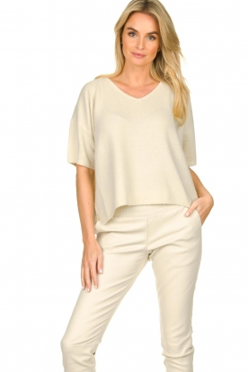 JC Sophie    Sweater with short sleeves Carnation   white