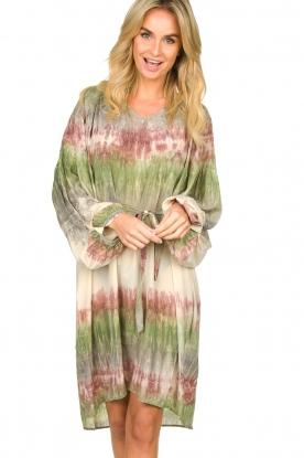 Rabens Saloner | Tie-dye jurk met ballonmouwen Lizetta | groen