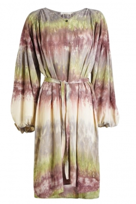 Rabens Saloner | Tie dye dress with belt Lizetta | green