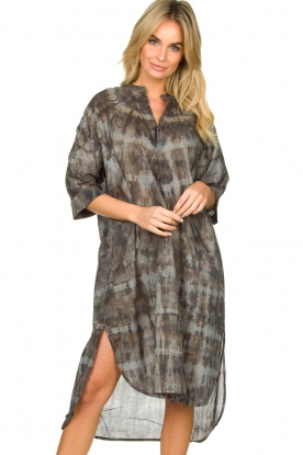 Rabens Saloner |  Cotton tie-dye dress Klara | grey