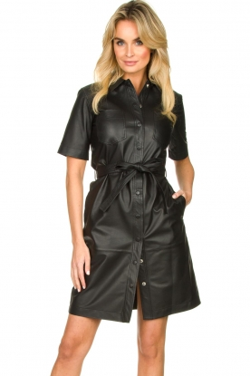 Set |  Leather dress Charol | black