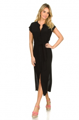 Set |  Maxi dress with belt Div | black