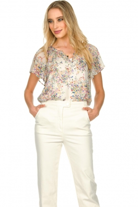 Set |  Top with flower print Fiora | white