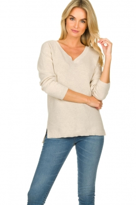 Knit-ted |  Cotton sweater Raaf | beige