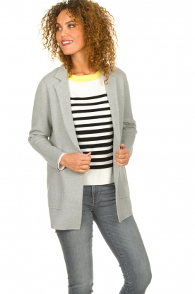 Knit-ted |  Cardigan with open pockets Adriana | grey