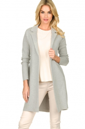 Knit-ted |  Long blazer cardigan Sammie | grey