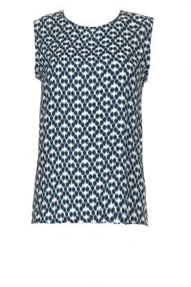 Knit-ted | Sleeveless top with print Rose | blue