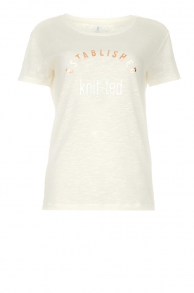 Knit-ted |T-shirt met tekstprint Marian | white