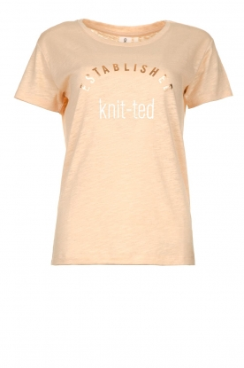 Knit-ted |T-shirt with text print Marian | pink