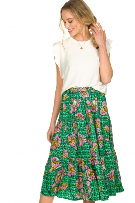 Lolly's Laundry |  Printed midi skirt Morning | green