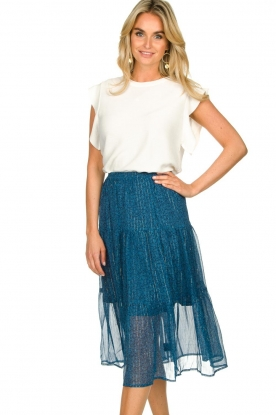 Lolly's Laundry |  Printed midi skirt Morning | blue