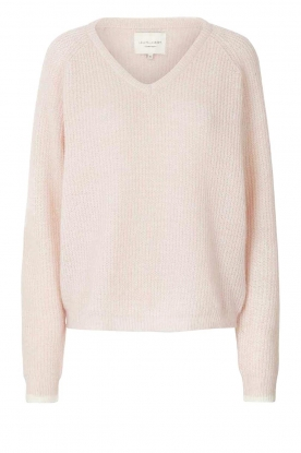 Lolly's Laundry |  Knitted V-neck sweater Aliza | light pink