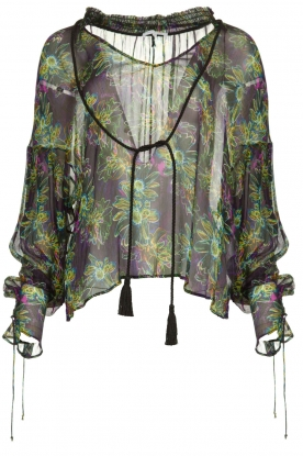 Patrizia Pepe |  Blouse with floral print Iris | black