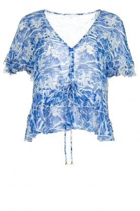 Patrizia Pepe |  Blouse with print Caesar | blue