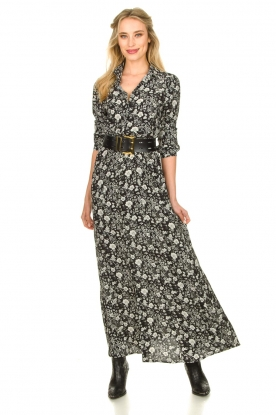 Les Favorites | Maxi jurk met bloemenprint Mirjam | zwart