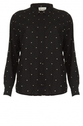 Les Favorites | Blouse with golden dots Fien | black