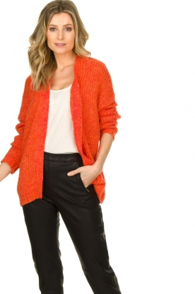 Les Favorites |  Chunky knitted cardigan Robbie | orange