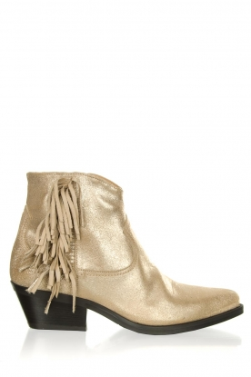 Janet & Janet |  Leather fringe ankle boots Nemesi | gold