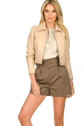 Dante 6 |  Leather cropped jacket Leavitt | natural