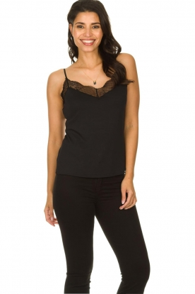 Dante 6 |  Sleeveless top with lace Aviana | black