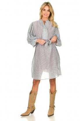 Antik Batik |  Striped cotton midi dress Kimolos | blue