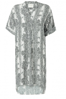 Notes Du Nord |  Silk print dress Oak | grey