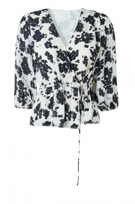 Notes Du Nord | Overslag top met print Orchid | wit