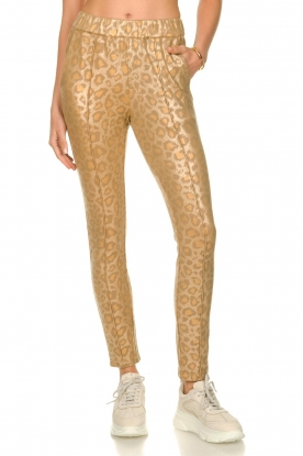 Sofie Schnoor |  Shiny leopard leggings Kaya | gold