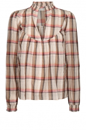 Sofie Schnoor |  Checkered blouse Franscisca | beige
