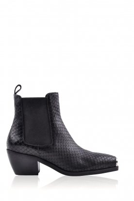 Sofie Schnoor |  Leather croco print boots Vally | black