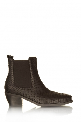 Sofie Schnoor |  Leather snake print boots Vally | black