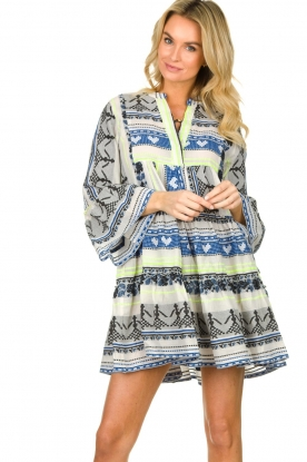 Devotion |  Cotton print dress Georgina | blue