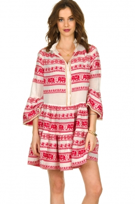 Devotion |  Cotton dress with print Gina | red