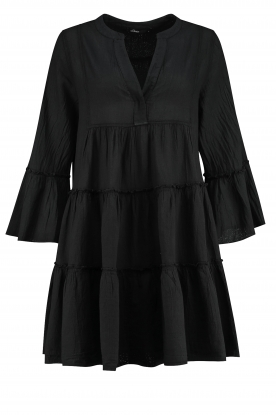 Devotion |  Cotton dress with ruffles Rosaline | black