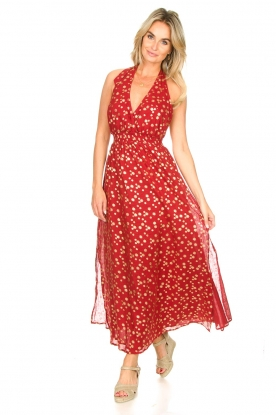 Sundress |  Cotton lurex maxi dress Hailey | red