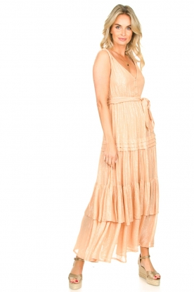Sundress |  Lurex maxi dress Calypso | nude