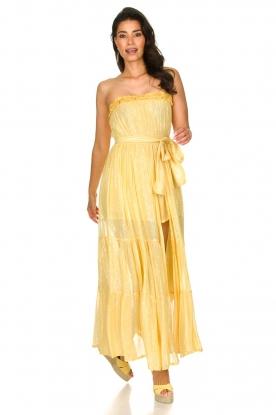 Sundress | Strapless lurex jurk Jonquille | geel