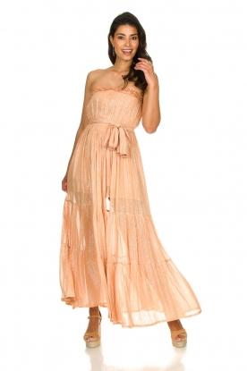 Sundress | Strapless lurex jurk Jonquille | nude