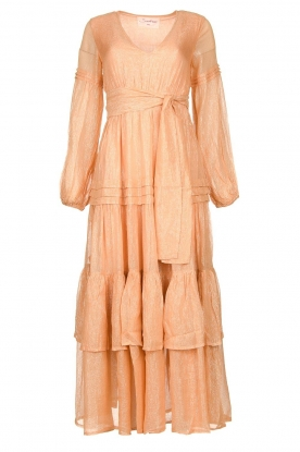 Sundress |Lurex maxi jurk Estelle | nude