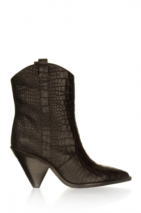 Toral |  Short leather boots with crocodile pattern Oslo | black