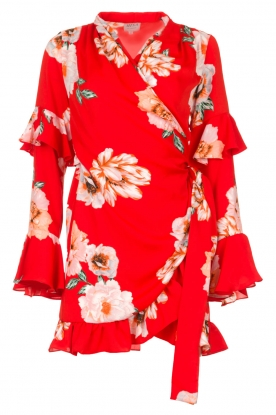 Misa Los Angeles |  Wrap dress with flowers Skylar | red