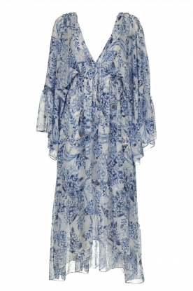 Misa Los Angeles | Printed midi dress with butterfly sleeves Shadi | blue
