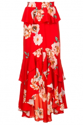 Misa Los Angeles |  Maxi skirt with volant Lucia | red