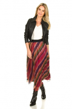 ba&sh |  Striped maxi skirt with lurex Midnight | pink