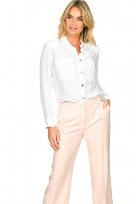 Nenette |  Blouse with silver buttons Fiammetta | white