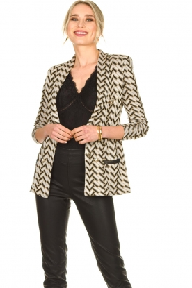Nenette |  Print blazer with lurex Linus | black