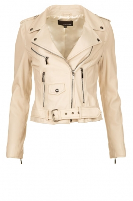 STUDIO AR BY ARMA |  Leather biker jacket with belt Kourtney | naturel