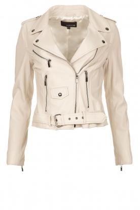 STUDIO AR BY ARMA |  Leather biker jacket with belt Kourtney | naturel