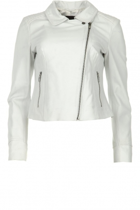 STUDIO AR BY ARMA |  Leather biker jacket Gomera | white