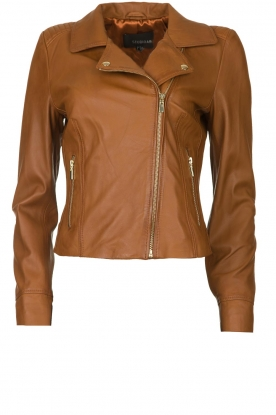 STUDIO AR BY ARMA |  Leather biker jacket Gomera | brown